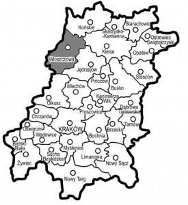 """ierwotny plan podziału województwa małopolskiego (z zaznaczonym powiatem włoszczowskim), opr. wł. na podstawie Czy będzie to reforma równych szans?, """"Głos Włoszczowy"""", (1998), nr 04, s. 13."""