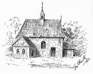 Wygląd bebelskiego kościoła z 1903 roku, za: A. Adamczyk, Kościoły drewniane wwojewództwie kieleckim. Kielce 1998, s. 36.