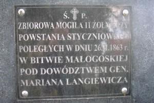 Tablica na zbiorowej mogile poległych powstańców [2008 r.]. Foto W. Cichecki.