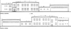 Fragment planu sytuacyjnego do projektu szkoły powszechnej w Bebelnie z lat 30 XX w. Ap.