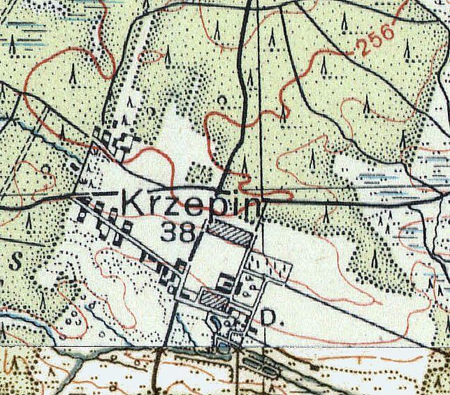 Krzepin na Mapie Taktycznej Polski z 1936 r. opr. przez Wojskowy Instytut Kartograficzny, skala 1:100 000, Warszawa 1936 r., słup 30, pas 45/46.