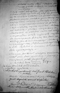 Jedna ze stron Protokołu naradczego z 1869 roku w sprawie budowy nowej plebanii w Bebelnie (z podpisami uczestników).