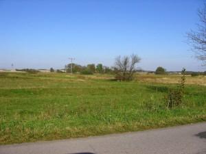 Widok od strony Krasowa na teren gdzie ulokowany był kompleks dworski wKrasówku [2010 r.]. Foto W. Cichecki.