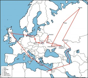 Mapa obrazująca drogę jaką przebył autor wspomnień w trakcie swej dziewięcioletniej tułaczki (droga naniesiona na współczesnej mapie politycznej). Opracowanie własne.