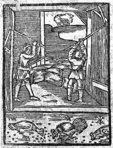 Omłot zboża cepami. P. Crescentyn, O pomnożeniu y rozkrzewieniu wszelakich pożytkow. Ksiąg Dwoienaście, Kraków 1571.