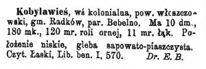 Kobyla Wieś w Słowniku Geograficznym Królestwa Polskiego i innych krajów słowiańskich.