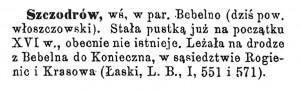 Opis Szczodrowa w Słowniku Geograficznym Królestwa Polskiego i innych krajów słowiańskich.