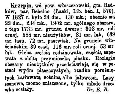 Opis Krzepina w Słowniku Geograficznym Królestwa Polskiego i innych krajów słowiańskich.