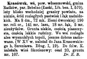 Krasówek w Słowniku Geograficznym Królestwa Polskiego i innych krajów słowiańskich.