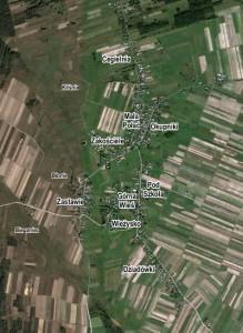 Orientacyjne rozmieszczenie niektórych części miejscowości i nazw miejscowych (kursywa) Bebelna, opr. własne, www.maps.google.com.