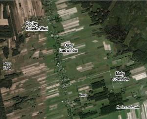 Orientacyjne rozmieszczenie niektórych części miejscowości i nazw miejscowych (kursywa) Ludwinowa, opr. własne, www.maps.google.com.