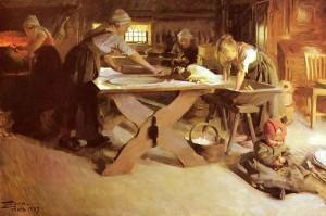 A. Zorn, Pieczenie chleba, 1889, olej na płótnie.