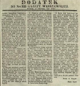 """Ogłoszenie o ponownej licytacji majątku Krzepin zamieszczone w""""Gazecie Warszawskiej"""" z 1850 r."""