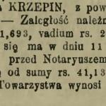 """Ogłoszenie o licytacji majątku Krzepin zamieszczone w """"Gazecie Warszawskiej"""" z 1893 roku."""