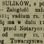 """Fragment ogłoszenia o licytacji majątku Sulików zamieszczone w """"Gazecie Warszawskiej"""" z 1893 roku."""