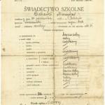 Świadectwo szkole jednego z wychowanków Publicznej Szkoły Powszechnej w Bebelnie z roku 1934. Apa.