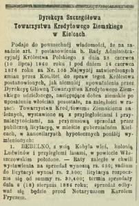 Ogłoszenie o licytacji dóbr Bebelno i Ludwinów w Gazecie Warszawskiej z 1886 roku.