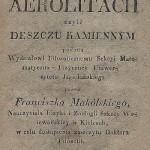 Pierwsza strona rozprawy Franciszka Makólskiego [1820 r.]. Ze zbiorów Biblioteki Głównej AGH.