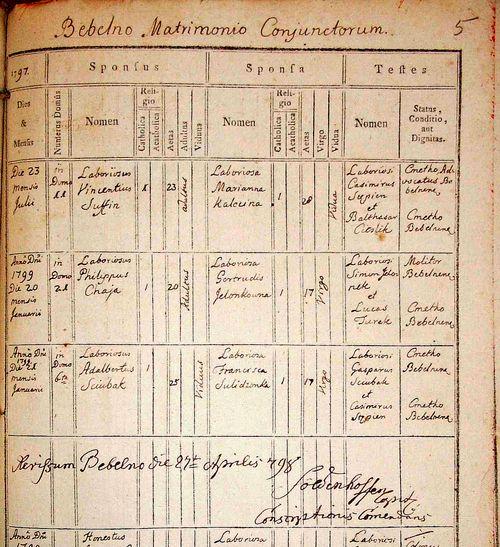 Fragment strony z aktami zaślubionych z 1797 roku z bebelskiej parafii.
