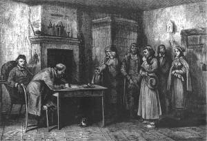 Obrachunek robocizny. Ilustracja z Tygodnika Ilustrowanego 1860 r.