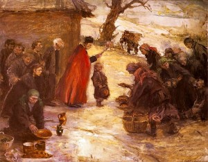 T. Axentowicz, Święcone, ok. 1899, olej na tekturze.