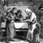 """Wigilia w chacie wiejskiej. """"Kłosy"""" 1878 r."""