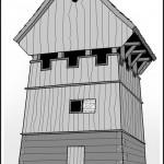 Czy tak mogła wyglądać budowla wzniesiona na Wieżysku? Próba rekonstrukcji. Opr. własne na podst. dost. materiałów.