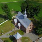 Bebelno, kościół z lotu ptaka