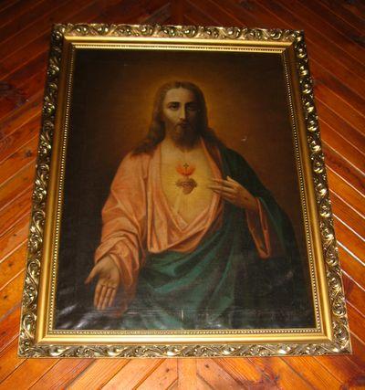 Wnętrze kościoła - obraz Chrystusa z otwartym sercem pochodzący z jednego zbocznych ołtarzy [2006 r.]. Foto W. Cichecki.