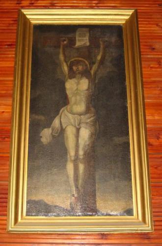 Wnętrze kościoła - obraz Chrystusa ukrzyżowanego (pochodzący rzekomo ze zboru kalwińskiego) [2006 r.]. Foto W. Cichecki.