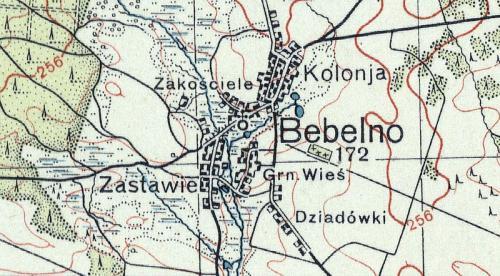 Bebelno na Mapie Taktycznej Polski z 1936 r. opracowanej przez Wojskowy Instytut Kartograficzny, skala 1:100 000, Warszawa 1936 r., słup 30, pas 45.