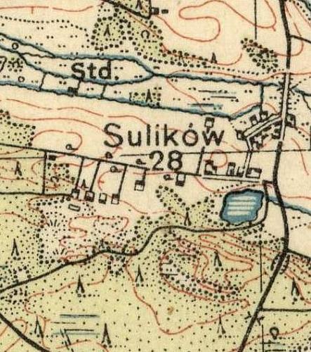 Sulików na Mapie Taktycznej Polski z 1936 r. opracowanej przez Wojskowy Instytut Kartograficzny, skala 1:100 000, Warszawa 1936 r., słup 30, pas 46.