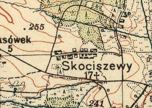 Skociszewy na Mapie Taktycznej Polski z 1936 r. opracowanej przez Wojskowy Instytut Kartograficzny, skala 1:100 000, Warszawa 1936 r., słup 30, pas 46.