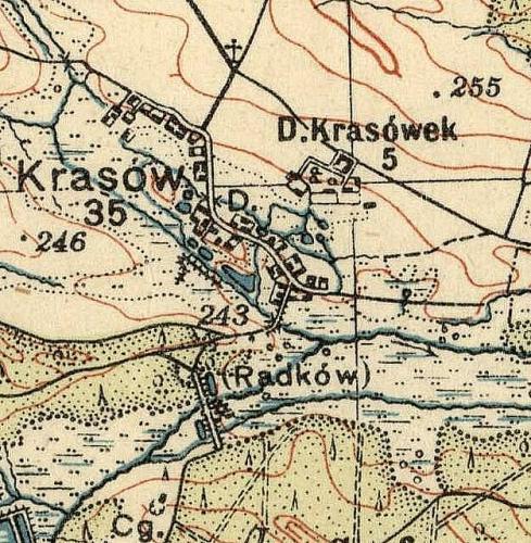 Krasów i Krasówek na Mapie Taktycznej Polski z 1936 r. opracowanej przez Wojskowy Instytut Kartograficzny, skala 1:100 000, Warszawa 1936 r., słup 30, pas 46.