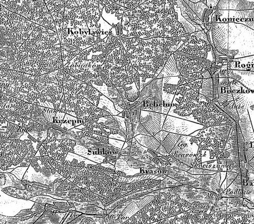 Miejscowości parafii Bebelno na Mapie topograficznej Królestwa Polskiego z 1839 roku. Kolumna 3, sektor 7 (Jędrzejów), skala 1:126 000.