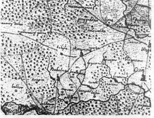 Bebelno i okolice na mapie województwa sandomierskiego z 1786 roku. Cz. Hadamik, Bebelno koło Włoszczowy..., Kielce 2004, s. 33.