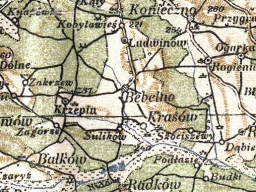 Kobyla Wieś i okoliczne miejscowości na mapie z 1925 r. Mapa Operacyjna Polski, Wojskowy Instytut Kartograficzny 1925, skala: 1:300 000.