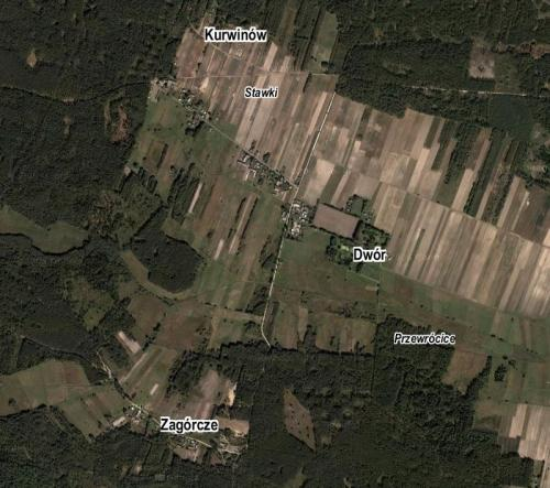 Orientacyjne rozmieszczenie niektórych części miejscowości i nazw miejscowych (kursywa) Krzepina, opr. własne, www.maps.google.com.