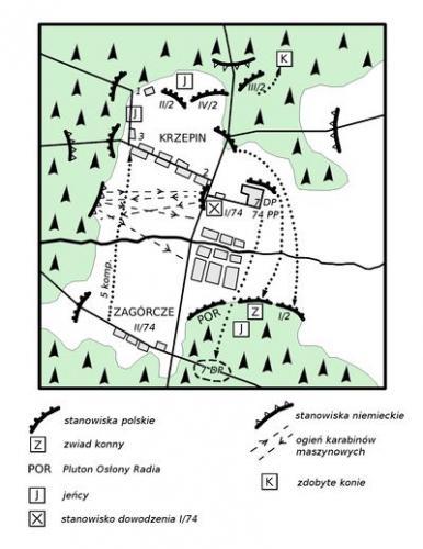 """Bitwa pod Krzepinem. Opr. własne na podst. W. Gałuszko, Komendant """"Marcin"""" Mieczysław Tarchalski 1903-1981, Włoszczowa 2000, s. 116."""