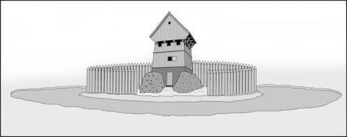 Próba odtworzenia wyglądu założenia obronnego na Wieżysku (bez fragmentu częstokołu). Opr. własne na podst. dost. materiałów.