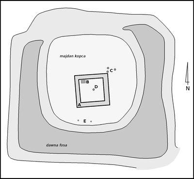 Orientacyjne rozmieszczenie obiektów na majdanie kopca bebelskiego Wieżyska na podstawie wyników badań archeologicznych z lat 2002-2003. A - prawdopodobne posadowienie zabudowy II fazy zabudowy; B - miejsce usytuowania pieca z kafli garnkowych; C - ślady posłupowe II fazy zabudowy; D - ślady posłupowe I fazy zabudowy; E - ślady domniemanego częstokołu lub parkanu. Opr. własne na podst.: Cz. Hadamik, Średniowieczne dwory obronne w powiecie włoszczowskim, Włoszczowa 2005, s. 17; Cz. Hadamik, Bebelno koło Włoszczowy - wieś i siedziba rycerska wwiekach średnich, Kielce 2004, s. 96.