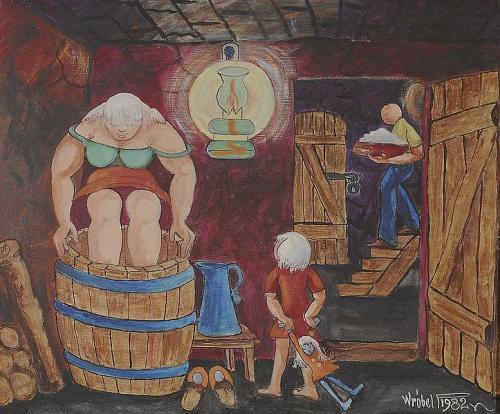 P. Wróbel, Kiszenie kapusty, 1982, akryl na płótnie.